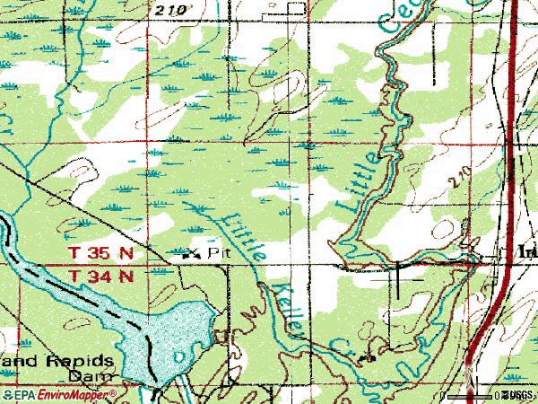 Zip code 49848 topographic map