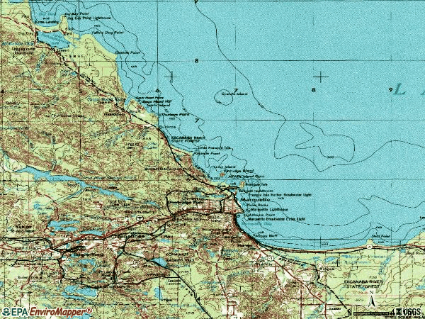 Zip code 49855 topographic map