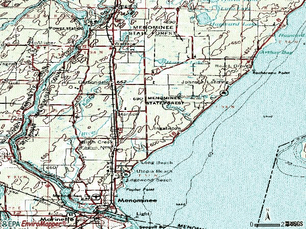 Zip code 49858 topographic map