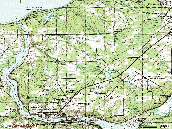 Zip code 49930 topographic map