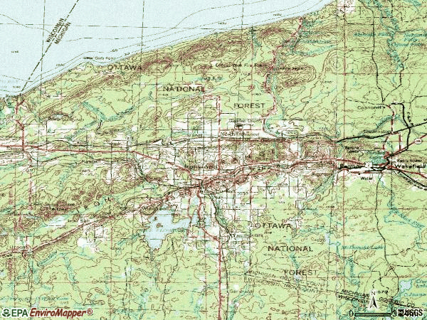 Zip code 49938 topographic map
