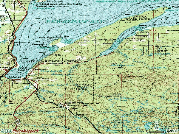 Zip code 49946 topographic map