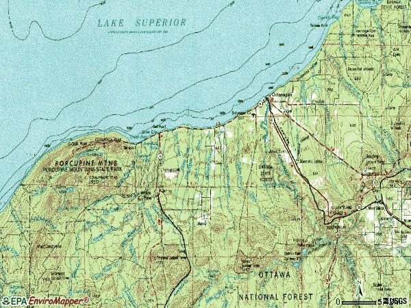 Zip code 49953 topographic map
