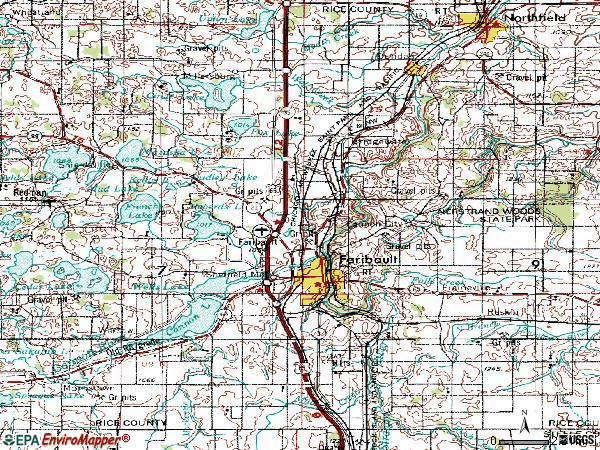 Zip code 55021 topographic map
