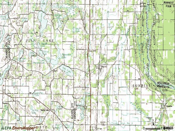 Zip code 55032 topographic map