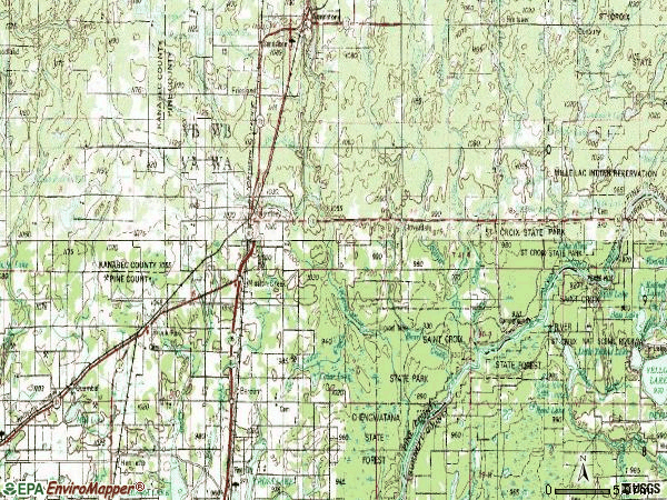 Zip code 55037 topographic map