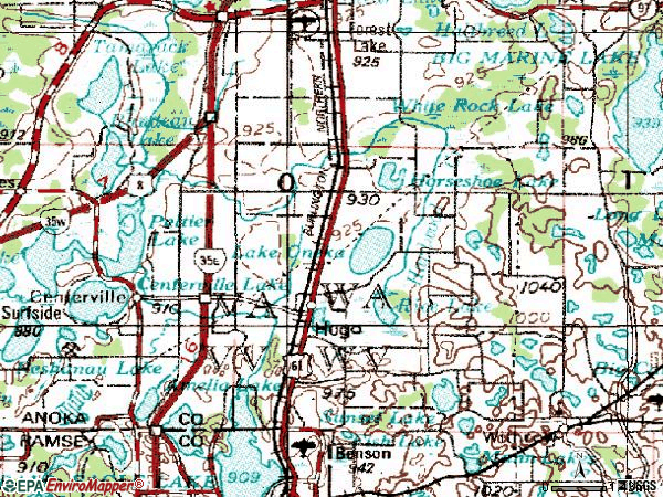 Zip code 55038 topographic map