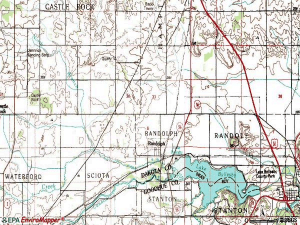 Zip code 55065 topographic map