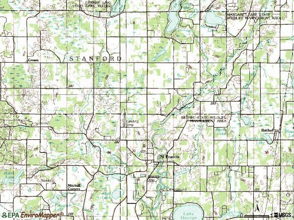 Zip code 55070 topographic map