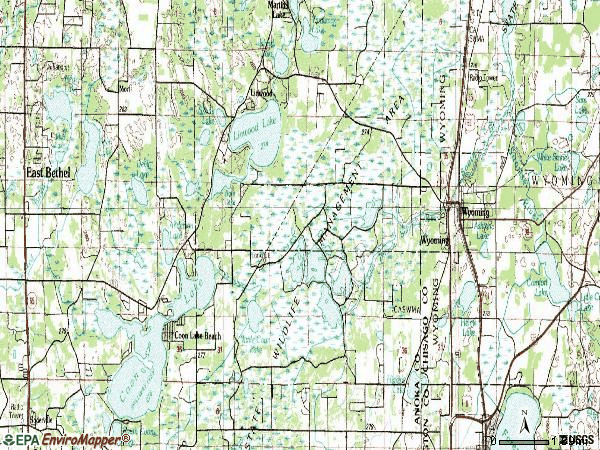 Zip code 55092 topographic map