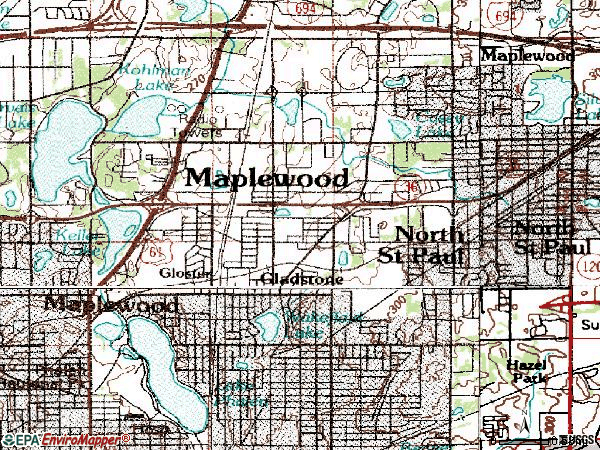 Zip code 55109 topographic map