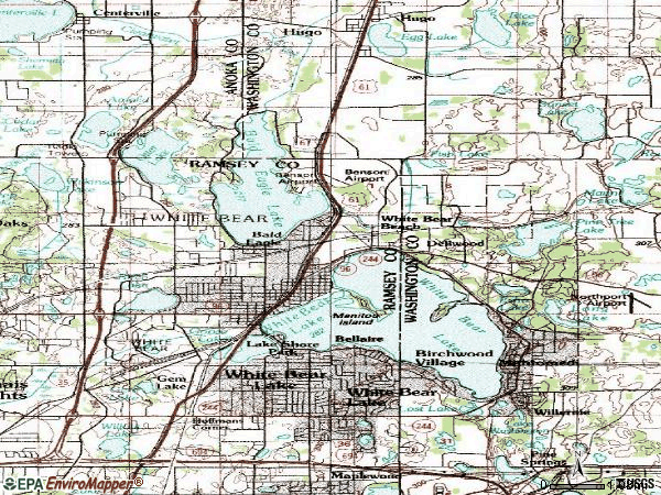 Zip code 55110 topographic map