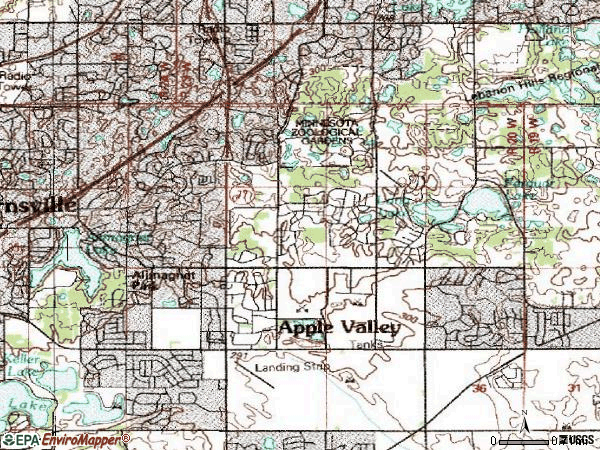 Zip code 55124 topographic map