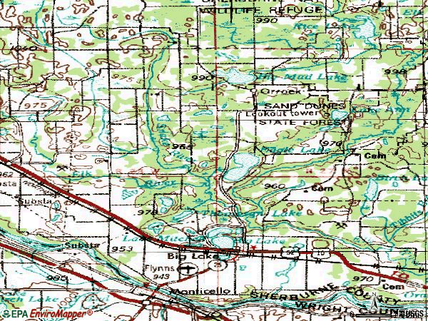 Zip code 55309 topographic map