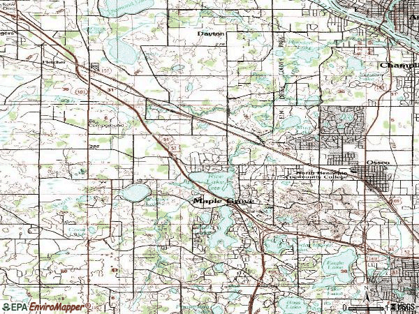 Zip code 55369 topographic map