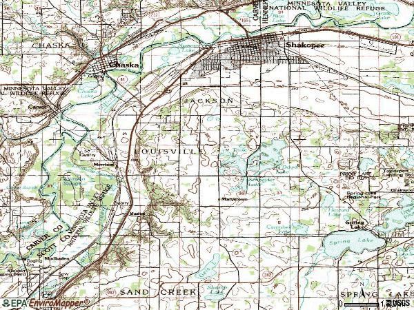 Zip code 55379 topographic map