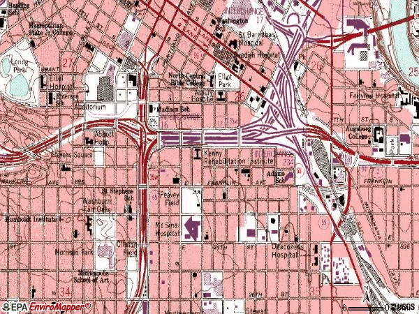 Zip code 55404 topographic map
