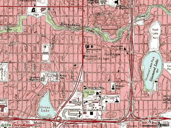 Zip code 55419 topographic map