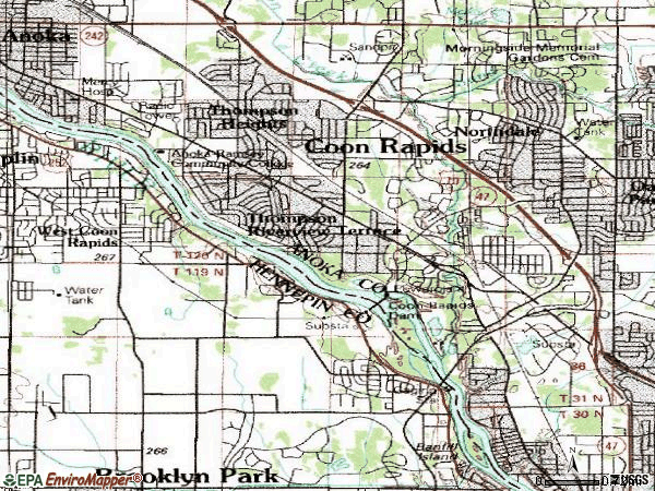 Zip code 55433 topographic map