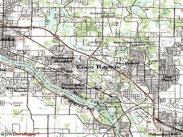 Zip code 55448 topographic map