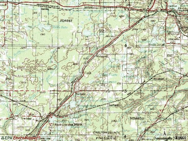 Zip code 55707 topographic map