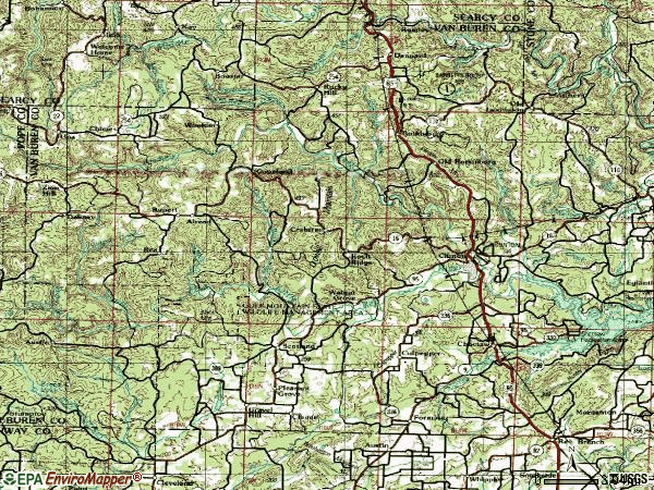 Zip code 72031 topographic map