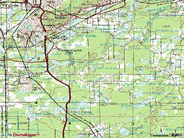 Zip code 55734 topographic map