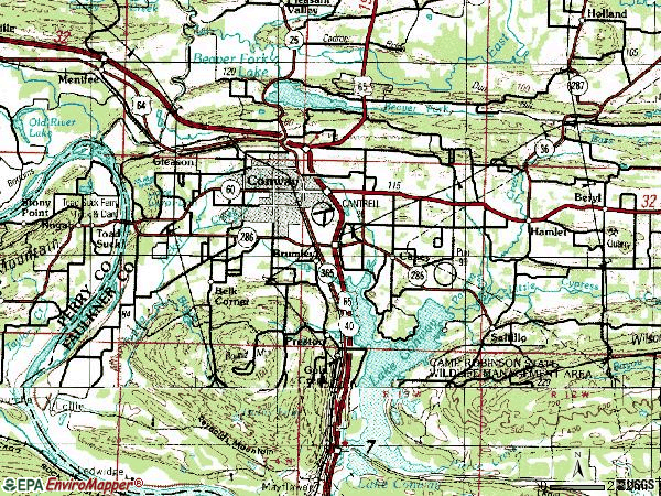 Zip code 72032 topographic map