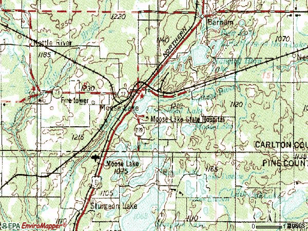 Zip code 55767 topographic map