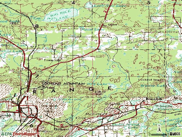 Zip code 55792 topographic map