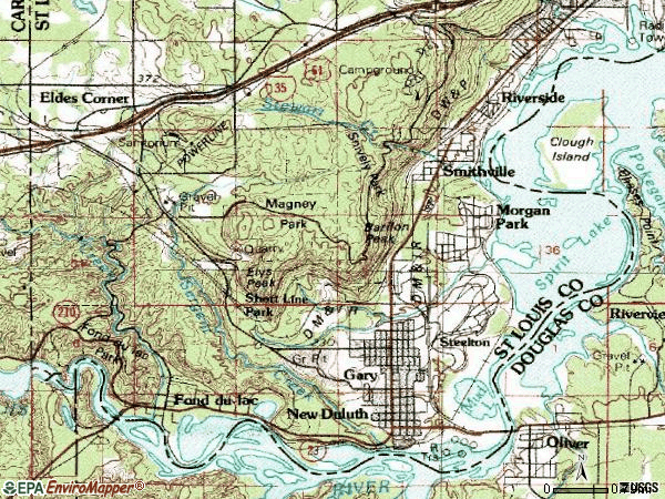 Zip code 55808 topographic map