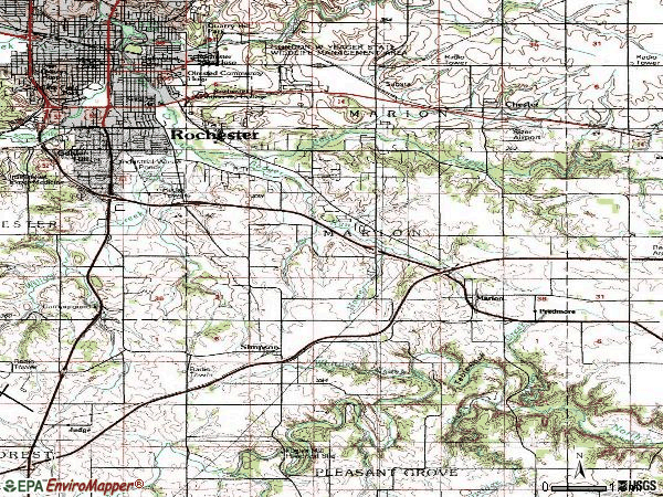 Zip code 55904 topographic map