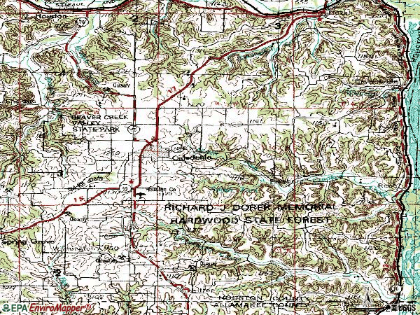 Zip code 55921 topographic map