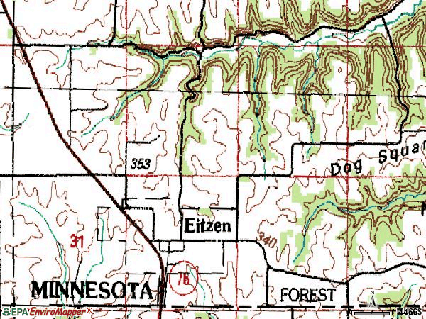 Zip code 55931 topographic map