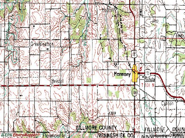 Zip code 55939 topographic map