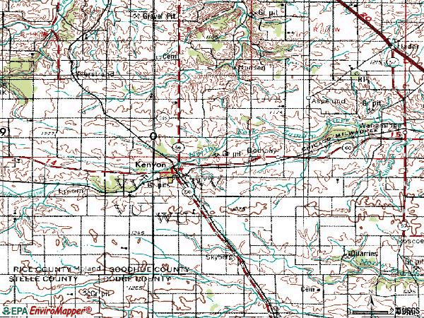Zip code 55946 topographic map