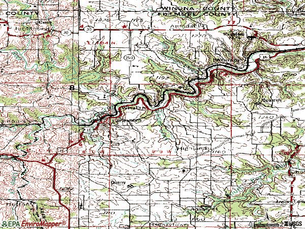 Zip code 55949 topographic map