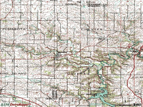 Zip code 55956 topographic map