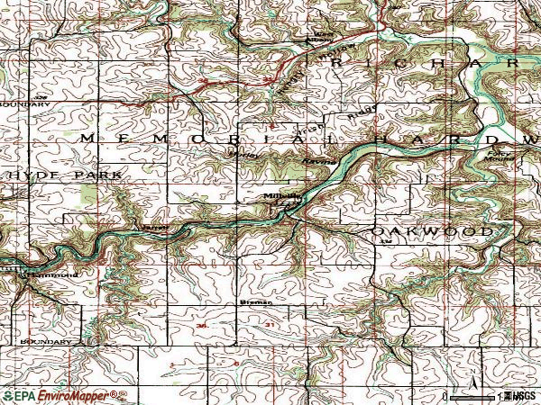 Zip code 55957 topographic map