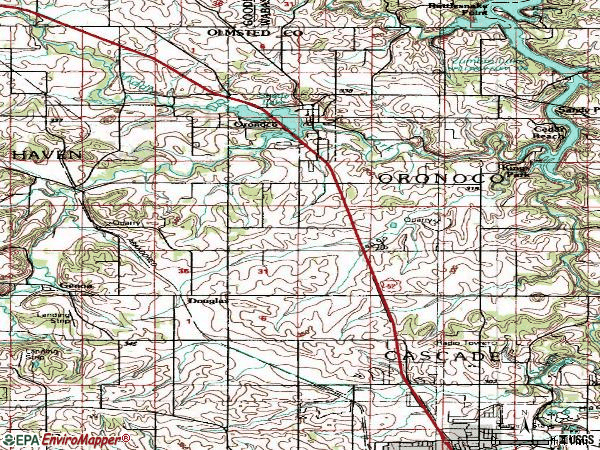 Zip code 55960 topographic map