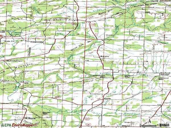 Zip code 72047 topographic map