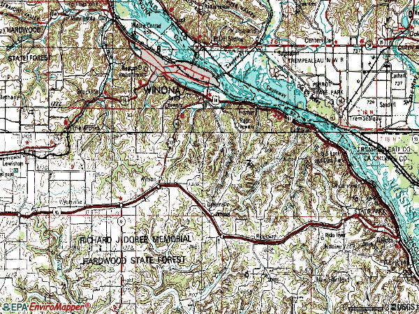 Zip code 55987 topographic map