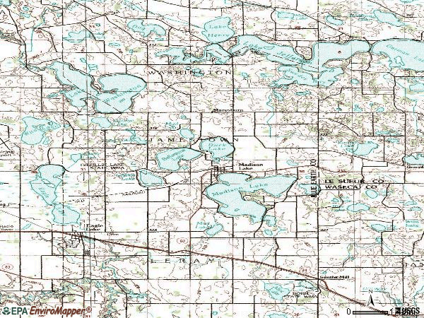 Zip code 56063 topographic map
