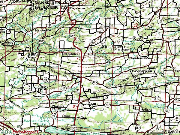 Zip code 72058 topographic map