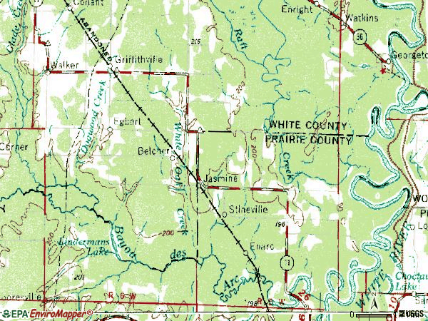 Zip code 72060 topographic map
