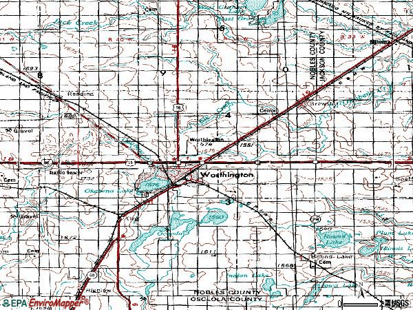 Zip code 56187 topographic map