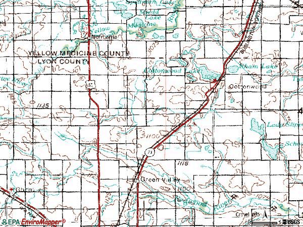 Zip code 56229 topographic map