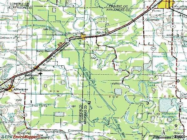 Zip code 72073 topographic map