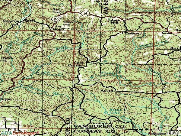 Zip code 72080 topographic map