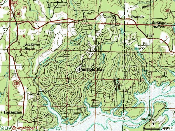 Zip code 72088 topographic map
